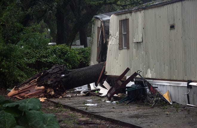 A large tree limb fell onto a trailer in West Pensacola and killing a 2-year-old child Tuesday as Tropical Storm Gordon moved through the area.