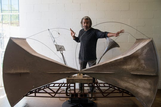 Joe Willie Smith made this playable sculpture using horns once owned by the city of Mesa as part of nuclear-war response plans.