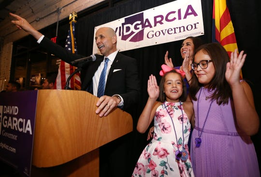 David Garcia, Democratic candidate for Arizona governor, addresses his supporters at Roland's Cafe and Market on Aug. 28, 2018, in Phoenix. Garcia won the Democratic primary and will face incumbent Republican Gov. Doug Ducey in November.