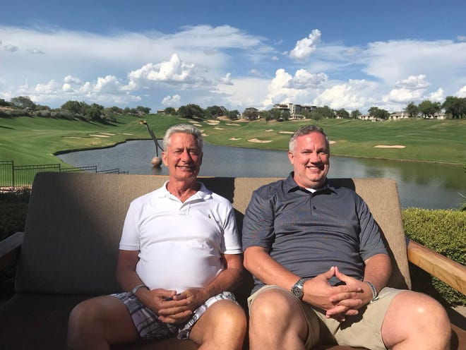 Kerry Hulett, left, and Brent Johnson are father and son who met for the first time this past weekend at the Westin Kierland Resort in Scottsdale. The two men found each other after signing up for DNA website 23andMe.
