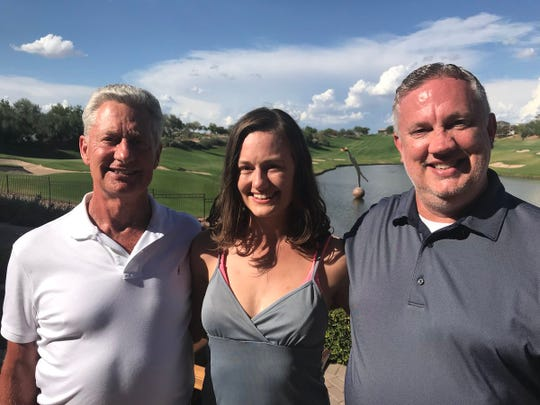 Kerry Hulett, left, Brittany Hulett and Brent Johnson meet for the first time this past weekend at the Westin Kierland Resort in Scottsdale. The two men found each other after signing up for DNA website 23andMe.