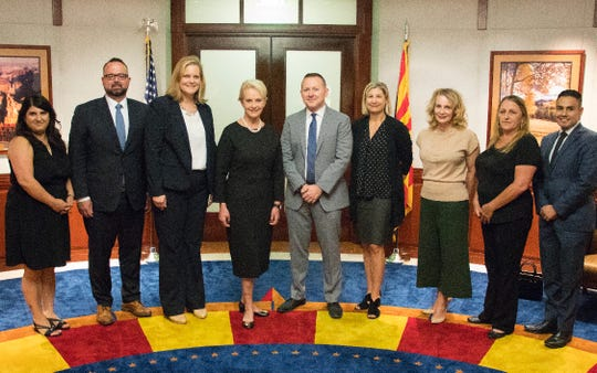 Cindy McCain returned to the Arizona state Capitol on Sept. 5, 2018, to thank Gov. Doug Ducey and his staff for their help organizing the ceremonies honoring her husband.