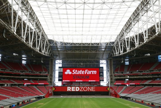 "The Arizona Cardinals reached a new naming agreement with State Farm, University of Phoenix Stadium is now named ""State Farm Stadium"" on Sep. 4, 2018 in Glendale, Ariz."