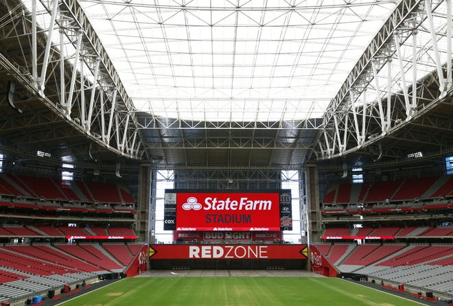 """The Arizona Cardinals reached a new naming agreement with State Farm, University of Phoenix Stadium is now named """"State Farm Stadium"""" on Sep. 4, 2018 in Glendale, Ariz."""
