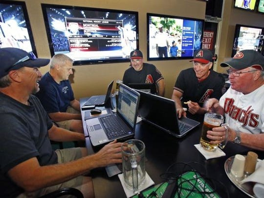 Fantasy sports players at Santisi Brothers in Phoenix, Arizona