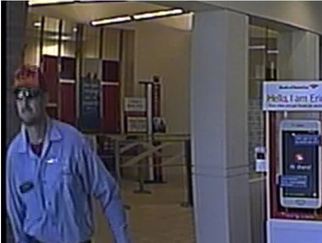 Surveillance footage shows the man who robbed a Chandler Bank of America on Sept. 4, 2018.
