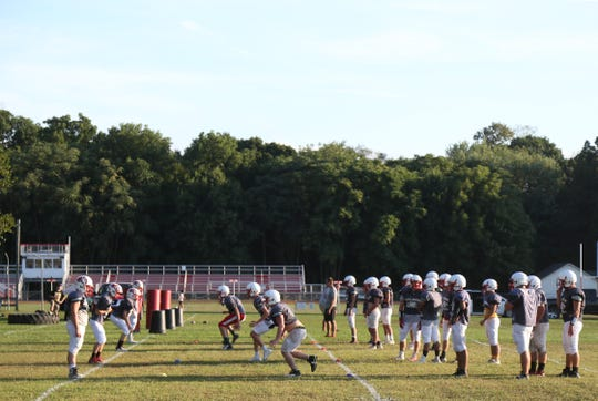 The Red Hook High School football team during practice on September 4, 2018.