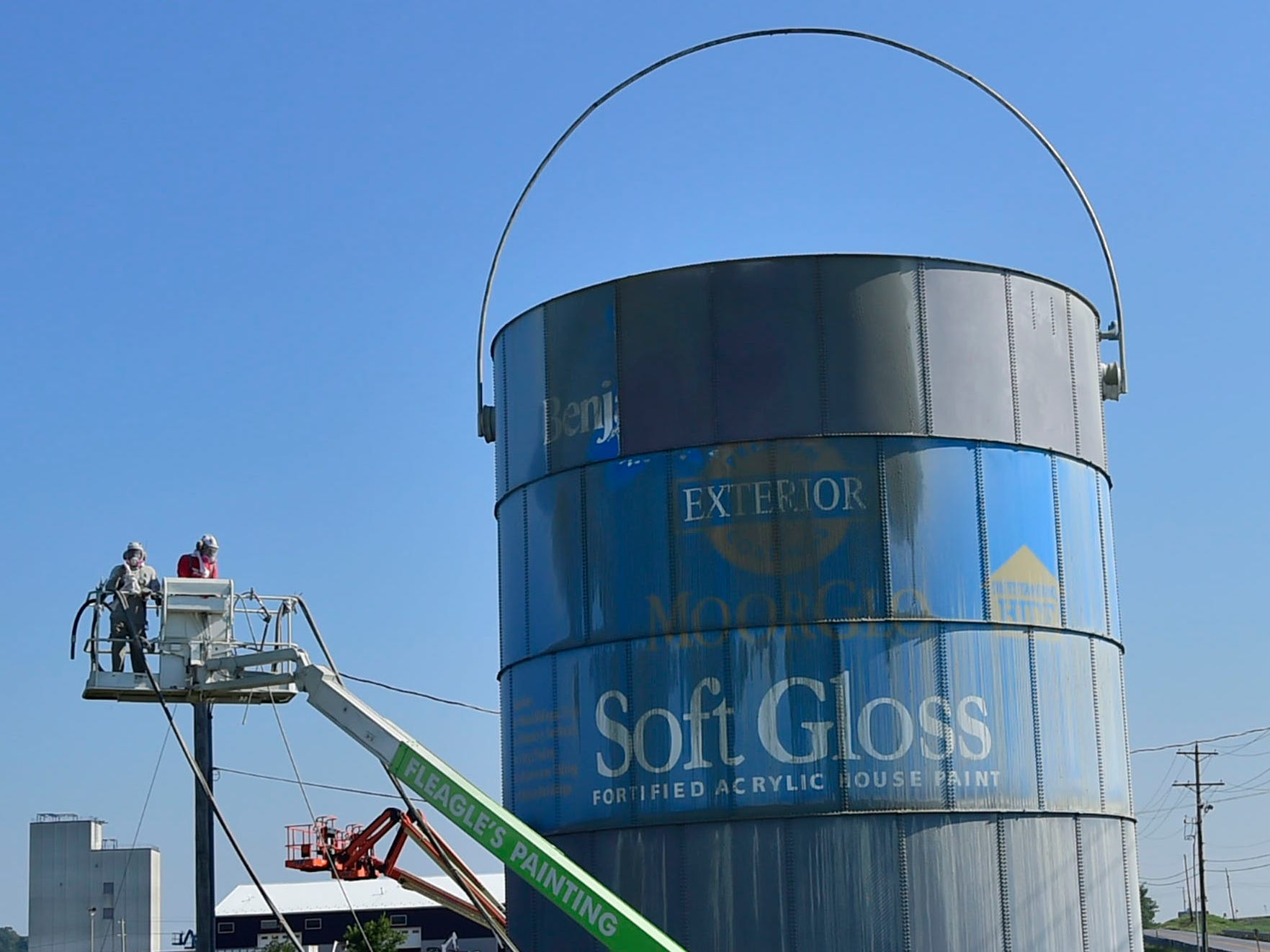 A huge 40-foot-high paint can that has become a landmark for travelers along Interstate 81 around Exit 24, Shippensburg, is getting a facelift. Fleagle's Painting, LLC, Chambersburg, is restoring the former water tank, originally installed as a business promotion in 1995, at A&A Decorative Design. The work will take about three weeks to complete at the business off Mount Rock Road.