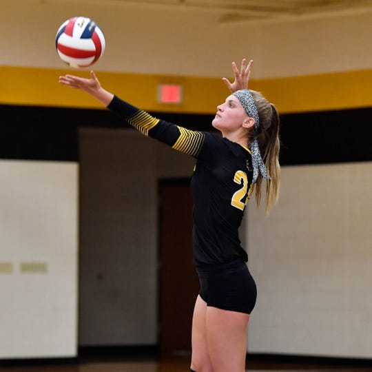 Maddie Grim (24) prepares to serve, Tuesday, September 4, 2018. Dover defeated Red Lion 3-1, at Red Lion High School.