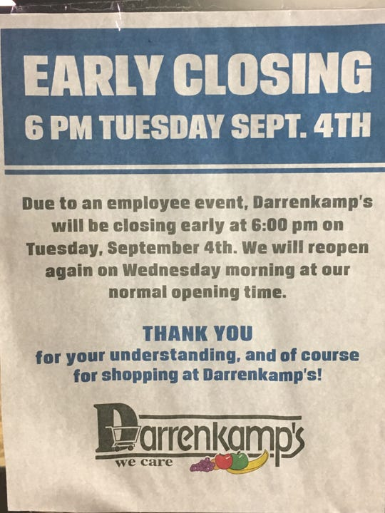 This sign was posted on the door of the grocery store on Tuesday night.