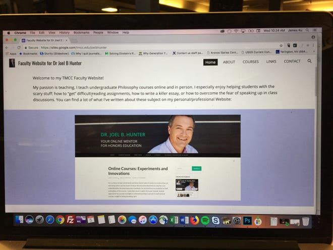 A photo of TMCC's faculty website page for Joel Hunter