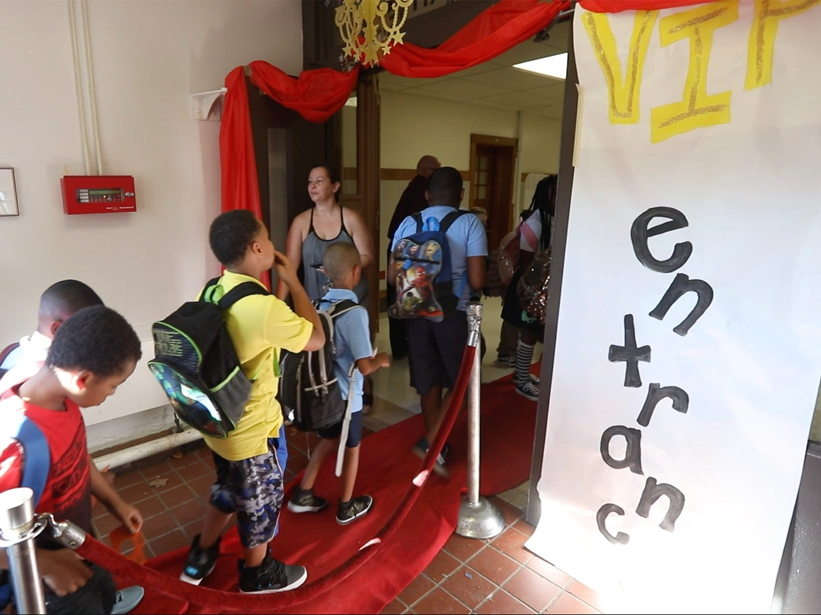 The school had their entrances decorated giving the students the red carpet treatment.