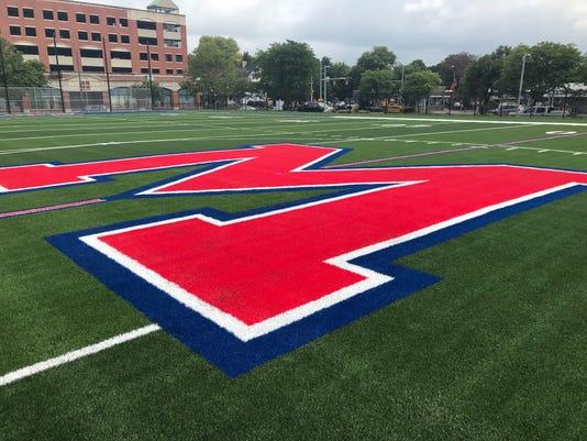 Monroe High new turf field at 50-yard line