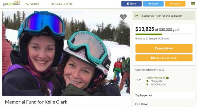 GoFundMe page for Kelle Clark's memorial fund
