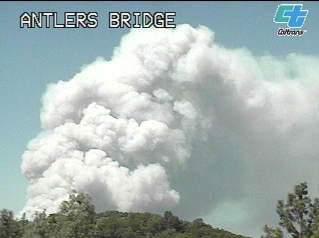 The Caltrans camera catches a still of the fire from the Antlers Bridge.