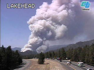 The Caltrans camera caught a still of plume of smoke from the Lakehead area.