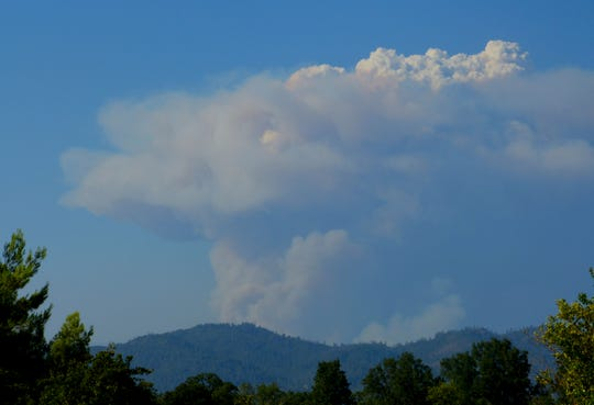 A huge plume of smoke from the Delta Fire burning near Lakehead was clearly visible Wednesday from Redding.