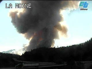 The Caltrans camera caught a plume of smoke from the La Moine area