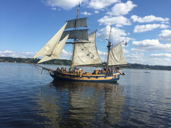The Hawaiian Chieftan, seen from the Lady Washington, as the two tall ships participate in a mock battle while on a cruise out of Olympia, Washington where they were participating in the annual Olympia Harbor Days September 1, 2018.