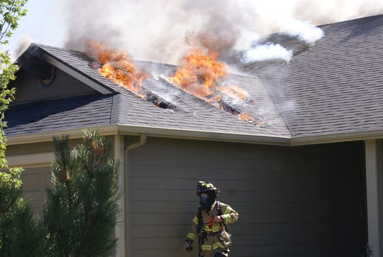 A fire at two Aumsville homes on Sunday, August 2.