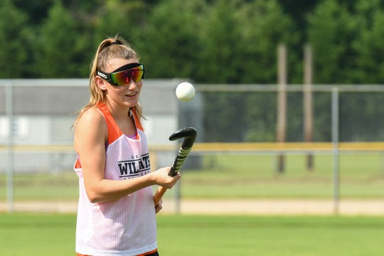 Senior Hailey Bitters pratices with the Delmar field hockey team on Wednesday, Sept. 5.