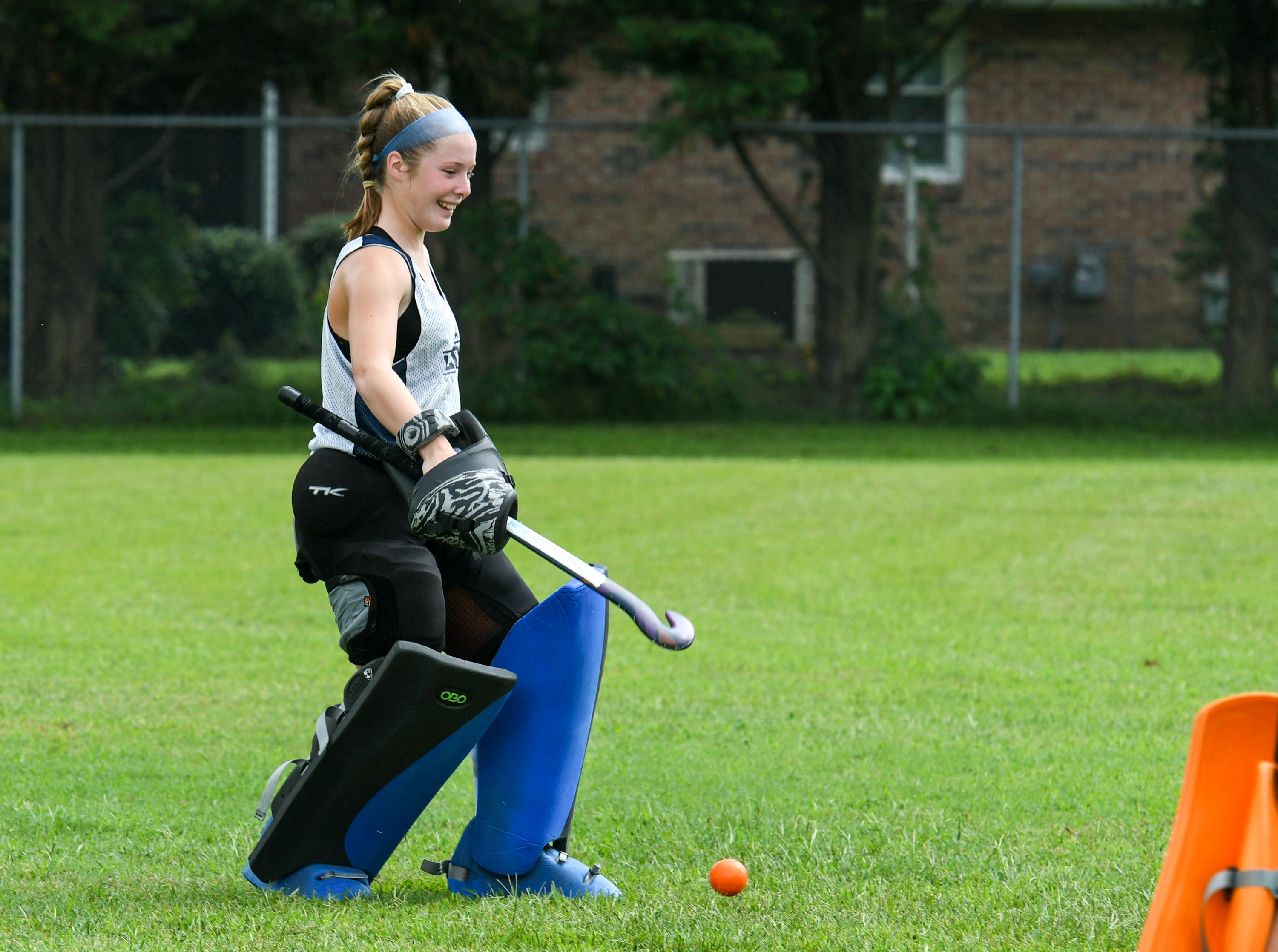 Goalie Kelly Davis practices stopping shots at Delmar field hockey practice on Wednesday, Sept. 5.