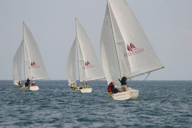 Competitors race in Lake Michigan during the 2017 Blind World Championship in Sheboygan.