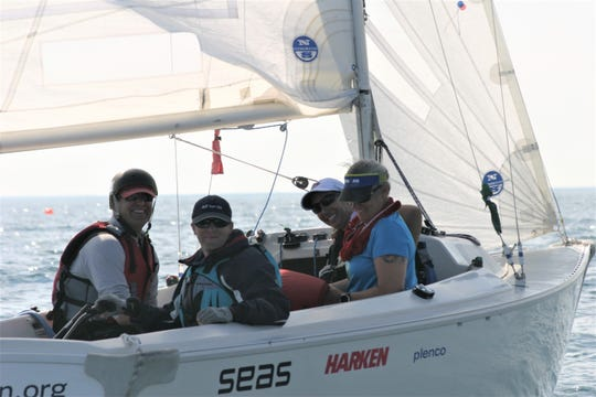 Members of the U.S. sailing team compete in the 2017 Blind World Championship in Sheboygan.