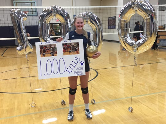 Burke junior Taylee Indahl became the first in program history to reach 1,000 kills for her career Tuesday night.