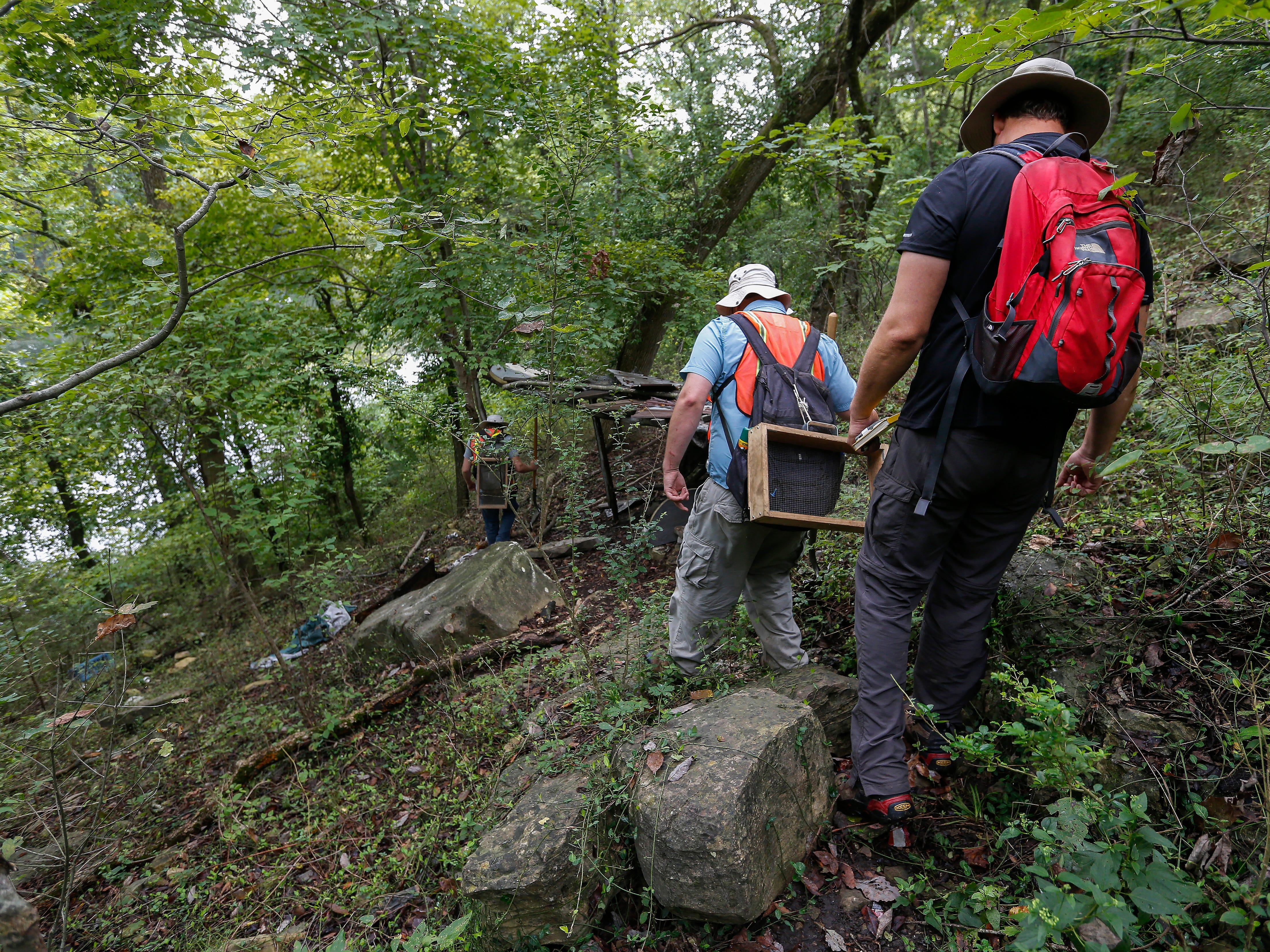 Archaeologists walk down a path toward a survey site along Lake Taneycomo on Thursday, Aug. 30, 2018.