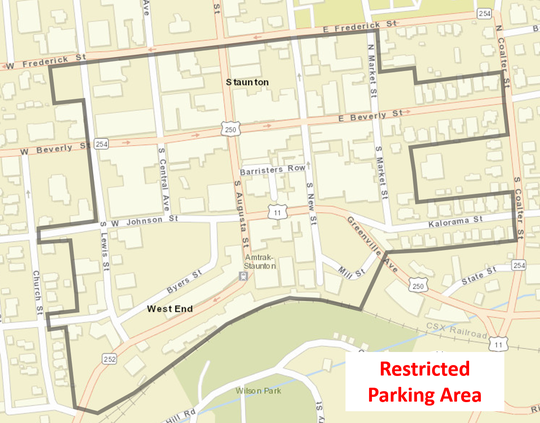 Restricted parking for the Queen City Mischief & Magic festival in downtown Staunton on Sept. 28 through 30.