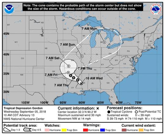 Tropical Depression Gordon 11 a.m. Sept. 5, 2018