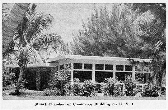 Stuart Chamber of Commerce in 1950s on US 1 and West Ocean Boulevard (former 4th St).