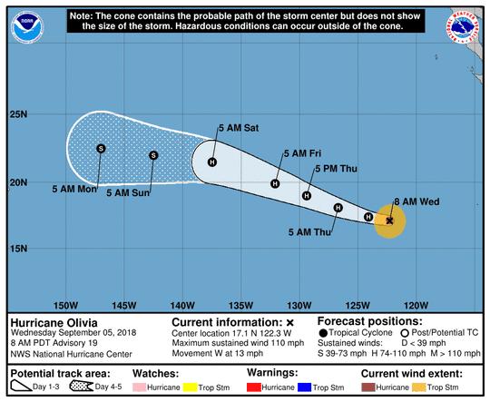 Hurricane Olivia 11 a.m. Sept. 5, 2018.