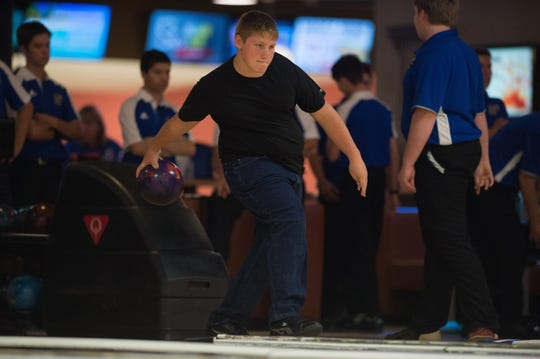 Sebastian River's Dylan Daubenmire bowls Wednesday, September 5, 2018, during his team's match against Martin County at Stuart Bowl in Stuart. To see more photos, go to TCPalm.com.