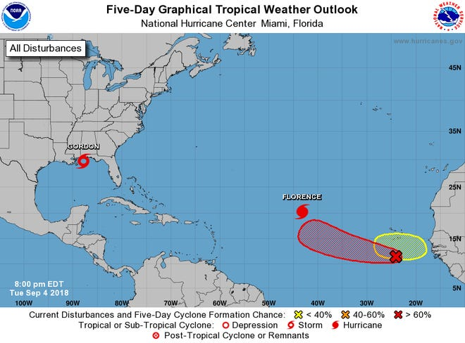 Tropical weather outlook in the Atlantic as of 8 p.m. Tuesday, Sept. 4, 2018.
