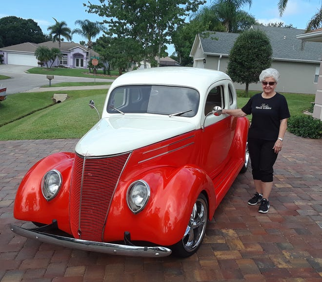 Faye Minnick poses with her 1937 Ford. She (and her car) will be featured at the Sept. 15 cruise-in at Pelican Landing in Sebastian.