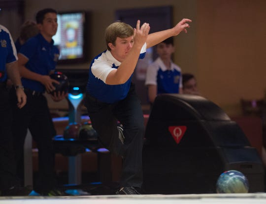 Martin County's Jimmy Peterson bowls Wednesday, September 5, 2018, during his team's match against Sebastian River at Stuart Bowl in Stuart. To see more photos, go to TCPalm.com.