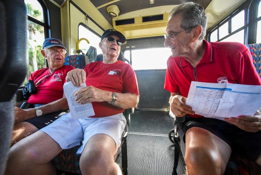 Indian River Estates residents (from left) Dick Schroeder, Harry Kennedy and Syd Gurley discuss the Vero Beach High School football roster Friday, Aug. 31, 2018, as they make their way to Vero Beach's game against Wellington at the Citrus Bowl.
