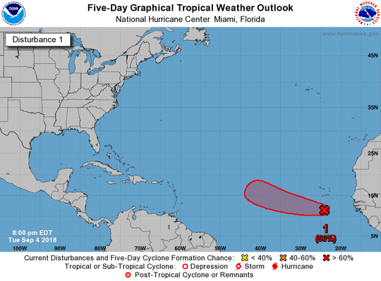 The National Hurricane Center is monitoring a low-pressure area that is likely to develop in a few days.