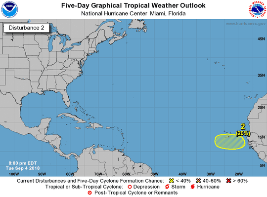 A new potential tropical wave was being monitored as of 8 p.m. Tuesday, Sept. 4, 2018.