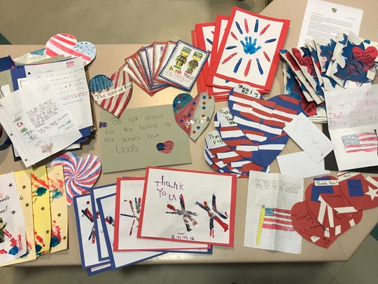 Students sent letters and handmade cards to an Air Force base on Idaho, which then sent their creations to a base in Germany.