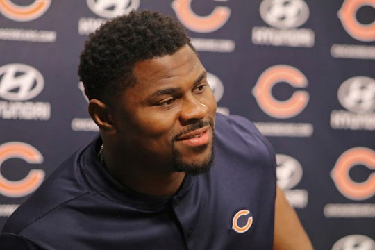 Newly acquired Chicago Bears player Khalil Mack speaks with the media during an NFL football news conference Sunday, Sept. 2, 2018, at Halas Hall in Lake Forest, Ill.