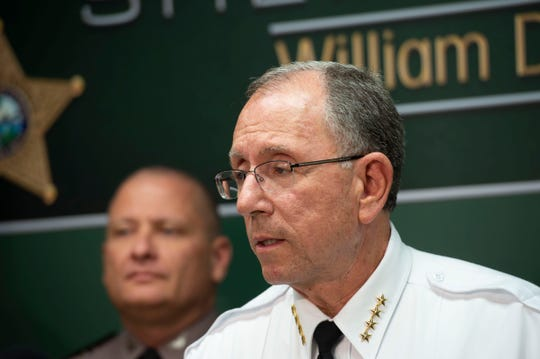 Martin County Sheriff William Snyder (right) speaks during a news conference in this Wednesday, Sept. 5, 2018 file photo.