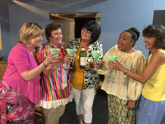 """Cast members of """"The Dixie Swim Club"""" L to R: Colette Schweizer, Ruth Johnson, Barbara Sykes, Adrienne Waters and Kristal Eckhardt."""