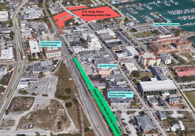 Map of downtown Fort Pierce. City officials propose using H.D. King property on Second Street as a Brightline station. Fort Pierce City Manager Nick Mimm said the station could be built on the west side of Second Street.