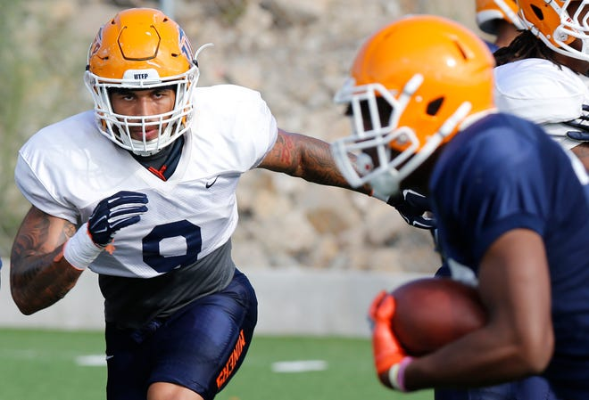 UTEP linebacker A.J. Hotchkins, a transfer from Oregon, goes through practice Wednesday morning as the Miners prepare for game two of the season as they travel to Las Vegas to take on the UNLV Rebels in a Saturday matchup.