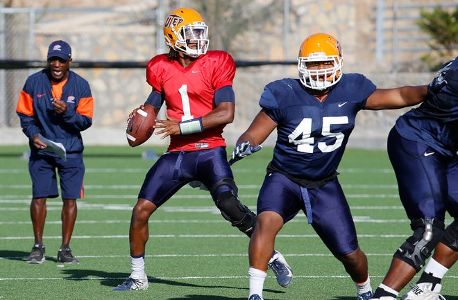 UTEP quarterback Kai Locksley looks for a receiver downfield during practice Wednesday morning as the Miners prepare for the game against the UNLV Rebels on Saturday in Las Vegas.