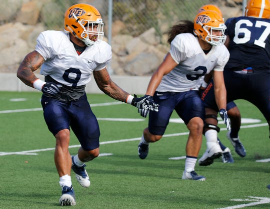 UTEP linebacker A.J. Hotchkins, a transfer from Oregon, goes through practice Wednesday morning as the Miners prepare for game two of the season as they travel to Las Vegas to take on the UNLV Rebels on Saturday. Hotchkins has become a leader on the team.