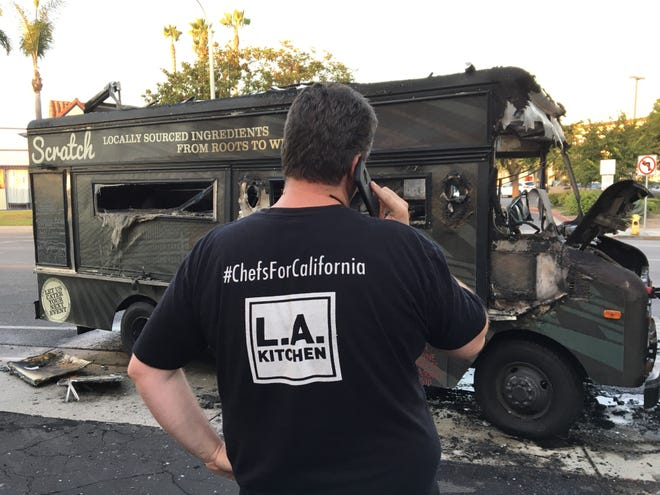 Ventura County-based chef Tim Kilcoyne calls his wife to report that their Scratch food truck has been demolished by fire on Aug. 31. The couple also own the bricks and mortar restaurant Scratch Sandwich Counter in Oxnard.